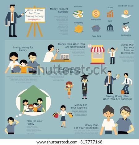 illustration set of money and