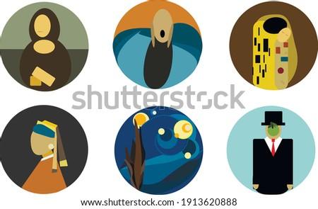 illustration set of paintings