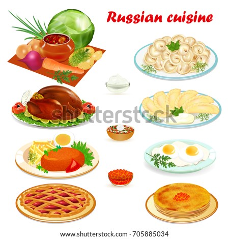 Illustration set of Russian cuisine with soup, dumplings pancakes, scrambled eggs, hamburger and cake