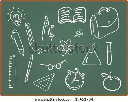 Illustration Set of school icons on chalkboard