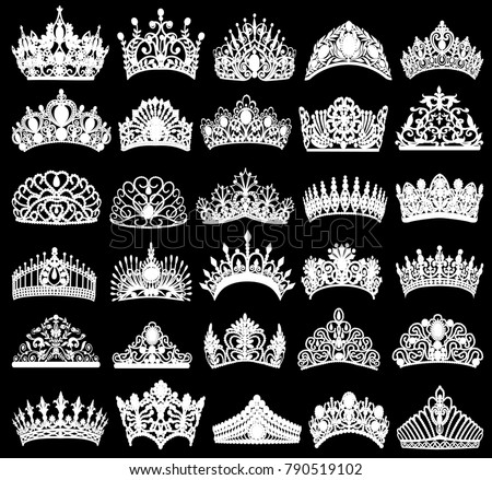 illustration set of silhouettes of ancient crowns, tiaras, tiara Сток-фото ©