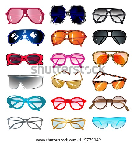 illustration set of sunglasses and eyeglasses for vision correction