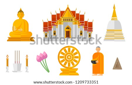 Illustration Set of Thai Buddhism Isolated on White - Vector Illustration