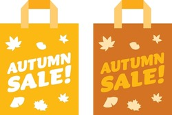 Illustration set of the paper bag of the autumn sale