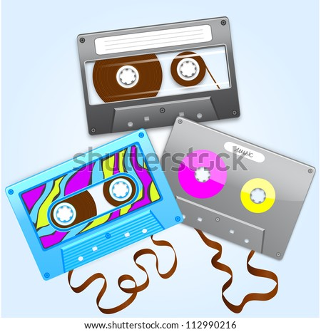 illustration set of three different tape cassettes