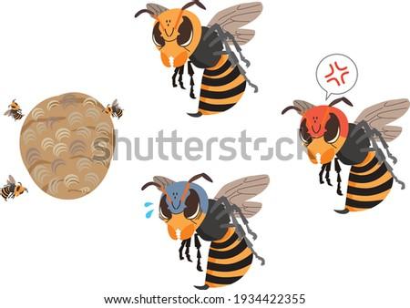 illustration set of wasps with