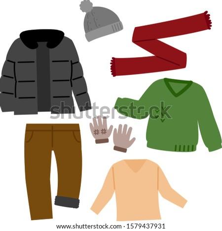 Illustration set of winter wears for men