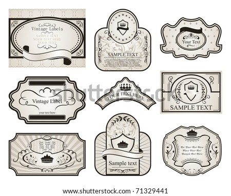 Illustration set retro variation vintage labels (2) - vector