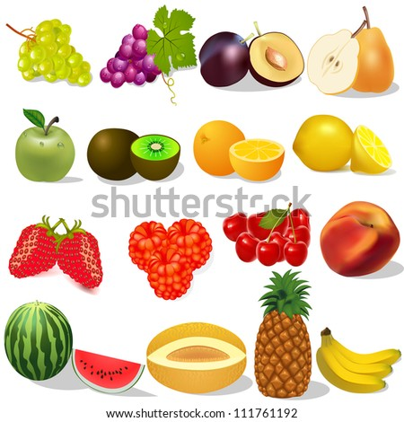 illustration set ripe fruit and berries on white