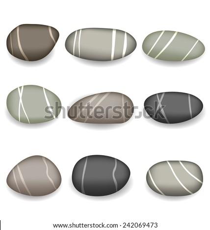 illustration set sea pebbles