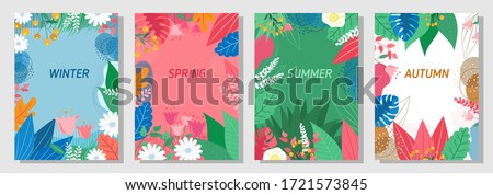 Illustration set season element or flowers background, winter, spring, summer, autumn, banner, cover, templates, posters.