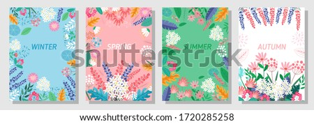 Illustration set season element or nature background, winter, spring, summer, autumn, banner, cover, templates, posters.