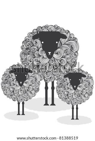 illustration sheep - stock vector