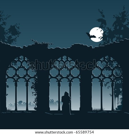 Illustration showing a monk entering the ruins of an old gothic abbey at night