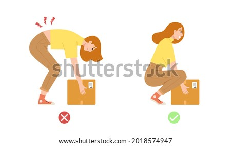 Illustration showing correct posture to lift heavy object safely. Concept of back and spine care, health care, physical body position. Flat vector illustration cartoon character.