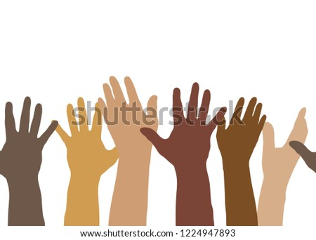 Illustration showing multi-ethnic silhouette hands in a horizontally seamless pattern, expressing volunteerism, multi-ethnicity, equality, racial and social issues.