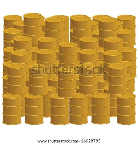 Illustration showing piled up golden oil barrels, to show current high trade value of the commodity