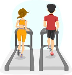 Illustration showing the Back View of Couple on a Treadmill