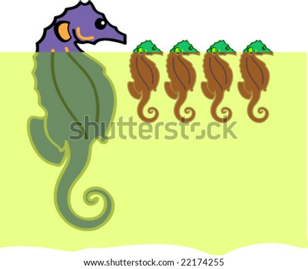 Illustration shows seahorses in the sea.