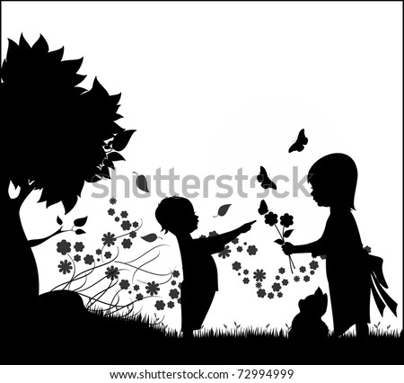 Illustration silhouette of two children, a boy and a girl playing with flowers, butterflies and a kitten