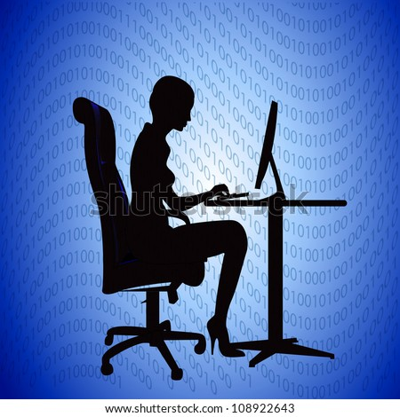 illustration silhouette woman secretary prints on computer