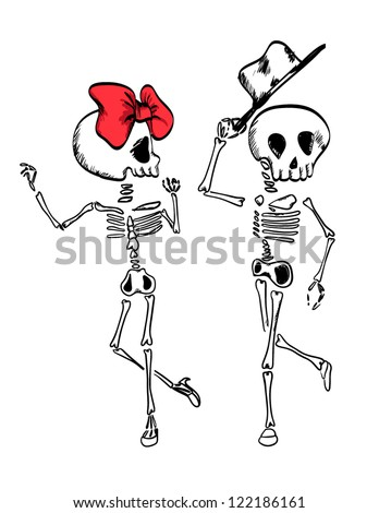 illustration sketch drawing skull dance with ribbon and hat