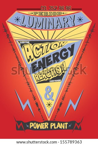 illustration sketch graphic and comic vector with energy symbol and t shirt print