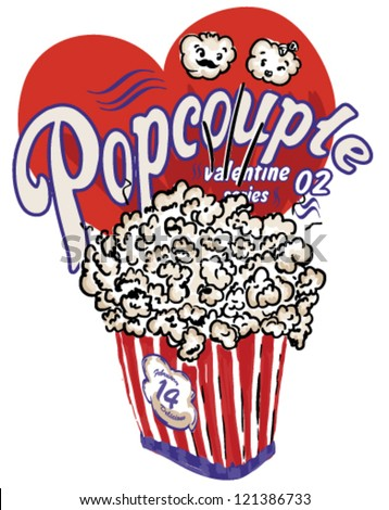 illustration sketch popcorn valentine's day drawing vector