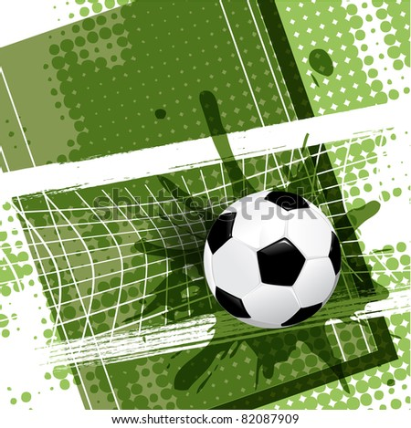 illustration, soccer ball on abstract green background