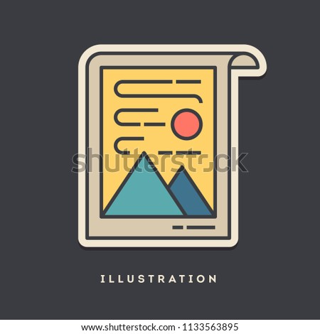 Illustration sticker. Thin line, flat design style. Vector illustration