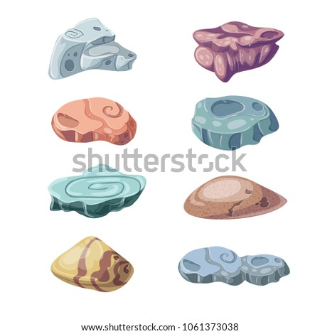 illustration Stone and nature rocks, boulders object set isolated on a white background. Vector cartoon objects. Bright background images for print, create videos or web graphic design, user interface