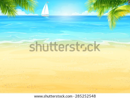 illustration summer beach and