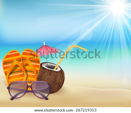 illustration summer beach