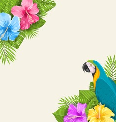 Illustration Summer Exotic Background with Parrot Ara, Hibiscus Flowers and Palm Leaves - Vector