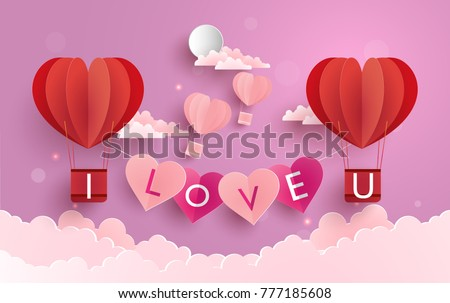 illustration symbol of love with the design of paper art and craft. a purple background with clouds and hot air balloons as a symbol of love #777185608