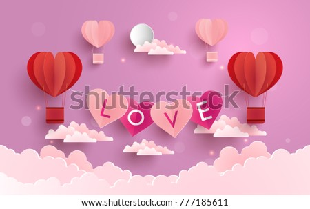 illustration symbol of love with the design of paper art and craft. a purple background with clouds and hot air balloons as a symbol of love #777185611