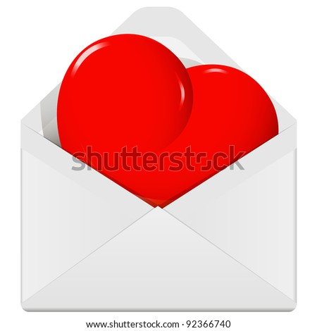 illustration, symbolic red heart in the envelope