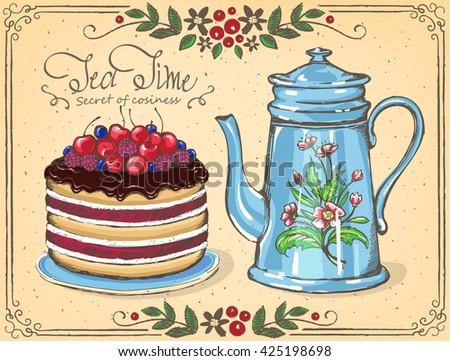 illustration tea time with