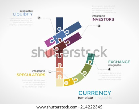 Illustration template with Turkish lira currency symbol made out of puzzle pieces