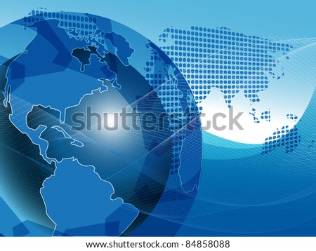 illustration texture globe on net like blue background