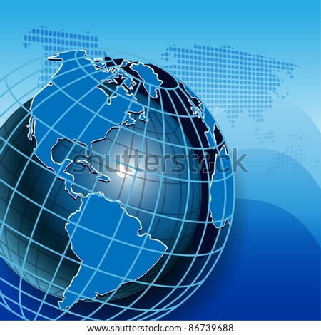 illustration texture globe on net like blue background - stock vector