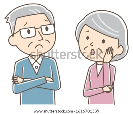 Illustration that an elderly couple is worried.