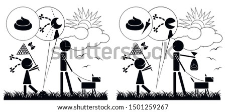 Illustration that motivates cleaning after dogs. Two drawings on one of which the girl's reaction to not cleaned the dog poop, and on the second the joy that the lawn is clean.