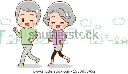 Illustration that senior woman and senior man are running