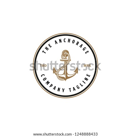 Illustration The Anchors Anchorage and Rope Logo Company in vintage circle line badge designs vector