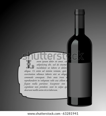 Illustration the elite wine bottle with black blank label for design invitation card - vector - stock vector