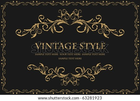 Illustration the luxury gold pattern ornament borders of black background - vector - stock vector