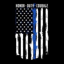 Illustration Thin Blue Line Police Officer Flag, with text Honor, Duty, Courage