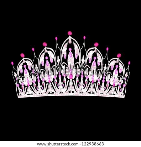 illustration tiara women's wedding with pink precious stones