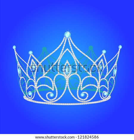 illustration tiara women  wedding with blue jewels